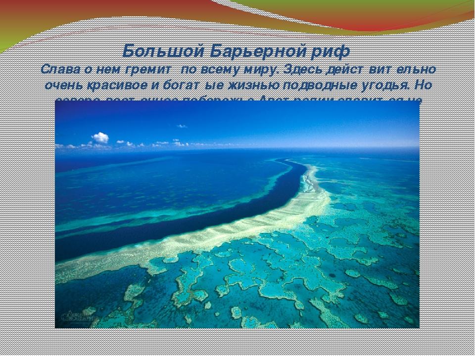 Большой Барьерной риф Слава о нем гремит по всему миру. Здесь действительно о...