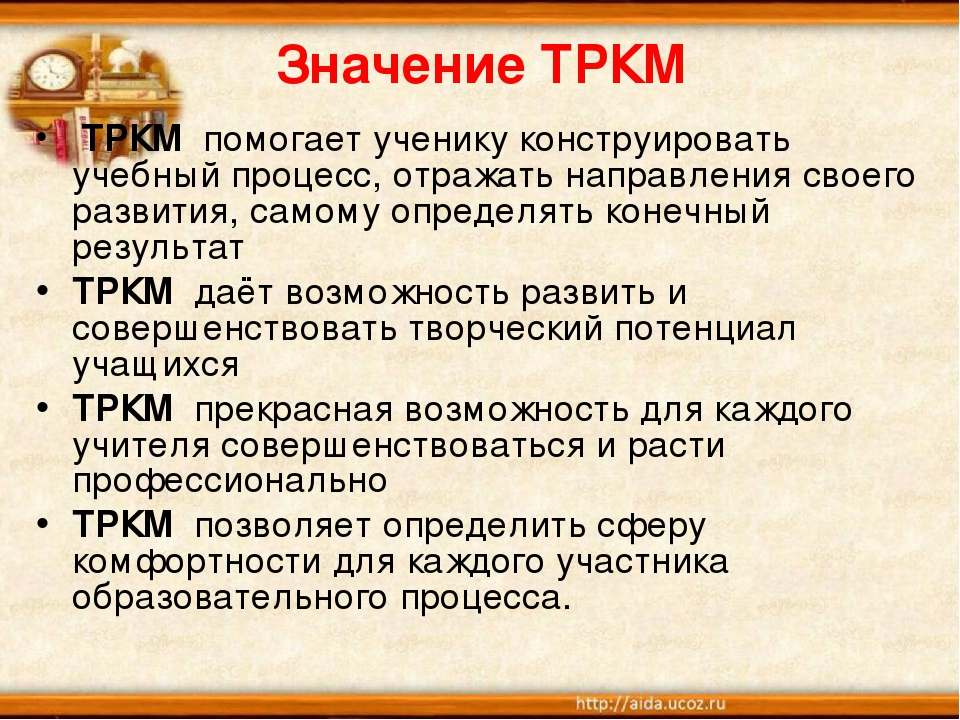 Значение ТРКМ ТРКМ помогает ученику конструировать учебный процесс, отражать...