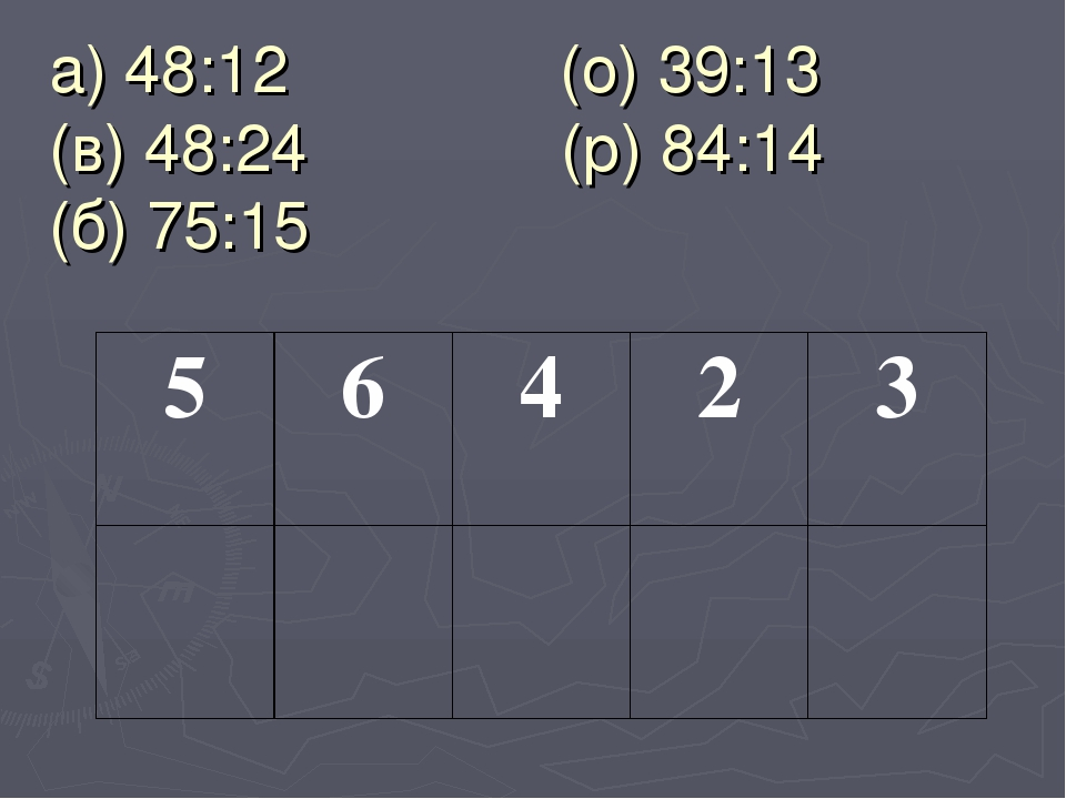 а) 48:12 (о) 39:13 (в) 48:24 (р) 84:14 (б) 75:15 56423