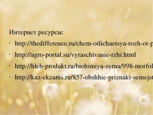 Интернет ресурсы: http://thedifference.ru/chem-otlichaetsya-rozh-ot-pshenicy/