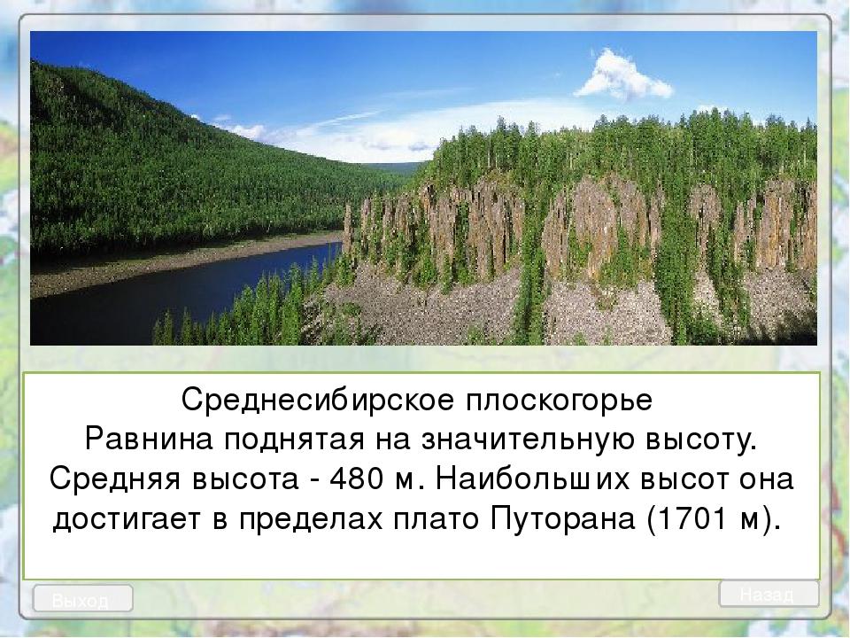 Среднесибирское плоскогорье Равнина поднятая на значительную высоту. Средняя...