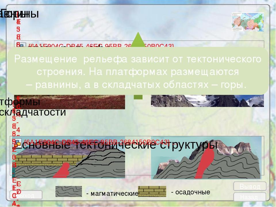 Выход Назад - магматические - осадочные Размещение рельефа зависит от тектони...