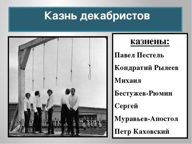 Казнь декабристов казнены: Павел Пестель Кондратий Рылеев Михаил Бестужев-Рю...