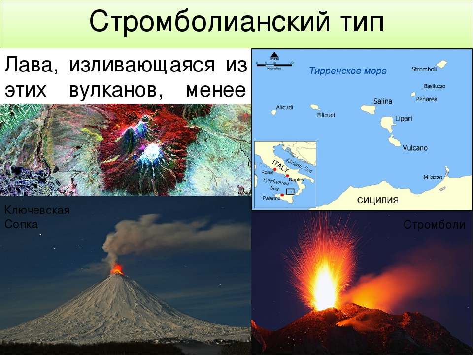 Фазы извержения вулкана Первая фаза – излияние потока светящейся жидкой лавы...