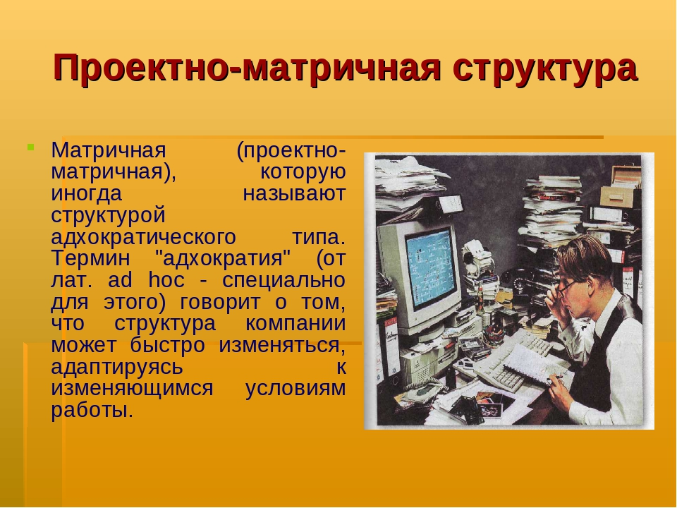 Проектно-матричная структура Матричная (проектно-матричная), которую иногда н...