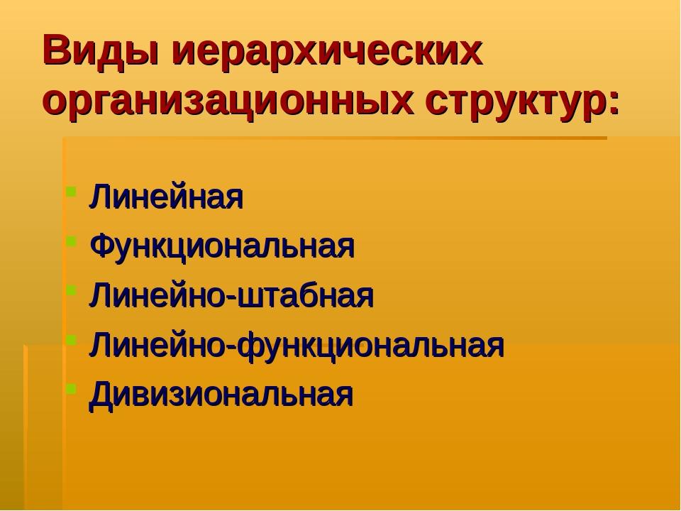 Виды иерархических организационных структур: Линейная Функциональная Линейно-...