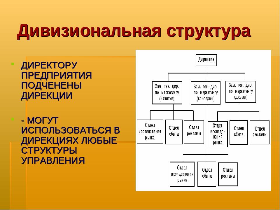 Дивизиональная структура ДИРЕКТОРУ ПРЕДПРИЯТИЯ ПОДЧЕНЕНЫ ДИРЕКЦИИ - МОГУТ ИСП...