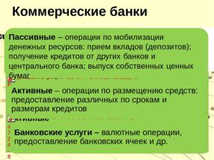 Коммерческие банки Пассивные – операции по мобилизации денежных ресурсов: при