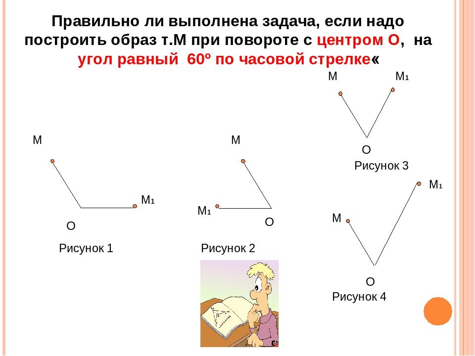 Правильно ли выполнена задача, если надо построить образ т.М при повороте с ц...