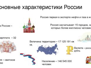 Основные характеристики России Столица России – Москва Население – 146 545 00