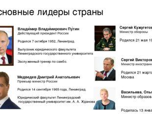 Основные лидеры страны Влади́мир Влади́мирович Пу́тин Действующий президент Р