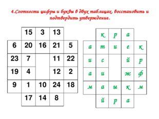 4.Соотнести цифры и буквы в двух таблицах, восстановить и подтвердить утверж