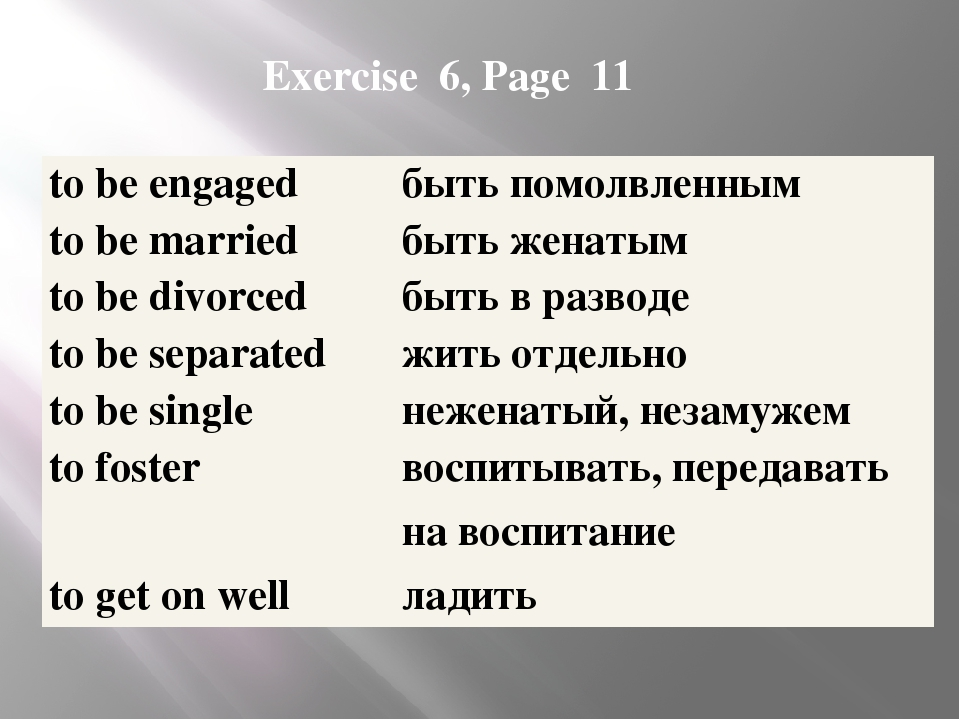 Exercise 6, Page 11 to be engaged быть помолвленным to be married быть женаты...