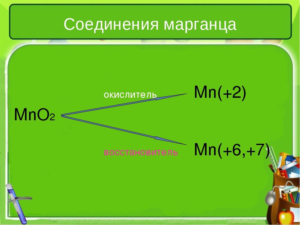 Соединения марганца окислительMn(+2) MnO2 восстановительMn(+6,+7)