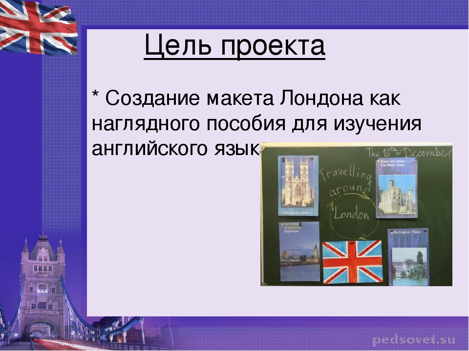 Цель проекта * Создание макета Лондона как наглядного пособия для изучения ан...