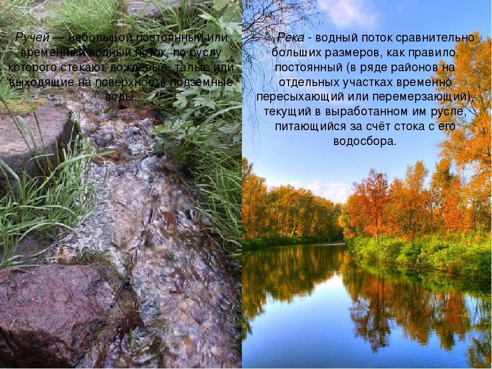 Река - водный поток сравнительно больших размеров, как правило, постоянный (в...