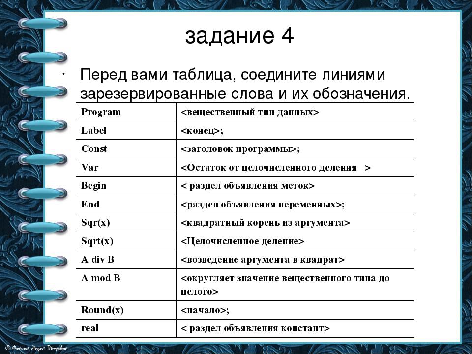 задание 4 Перед вами таблица, соедините линиями зарезервированные слова и их...