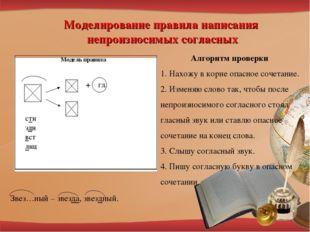 Моделирование правила написания непроизносимых согласных Алгоритм проверки 1.
