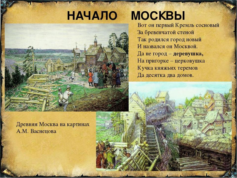НАЧАЛО МОСКВЫ Вот он первый Кремль сосновый За бревенчатой стеной Так родился...