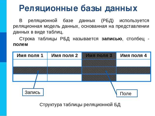 Реляционные базы данных В реляционной базе данных (РБД) используется реляцион...