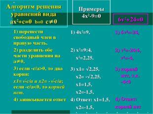 Примеры 4x2-9=0 1) перенести свободный член в правую часть, 2) разделить обе