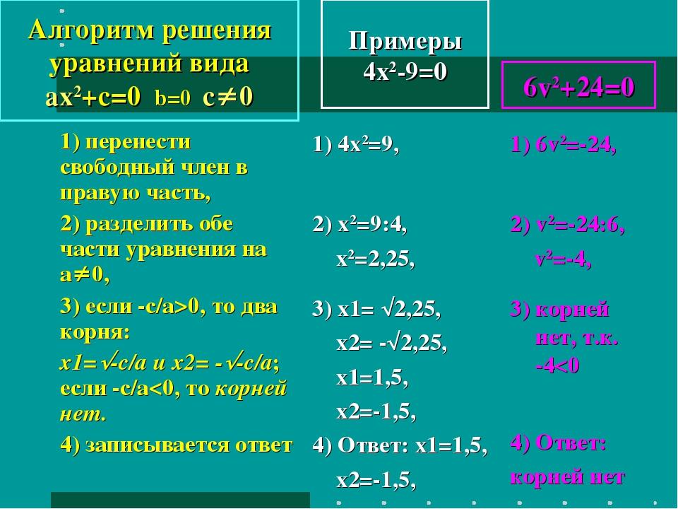 Примеры 4x2-9=0 1) перенести свободный член в правую часть, 2) разделить обе...