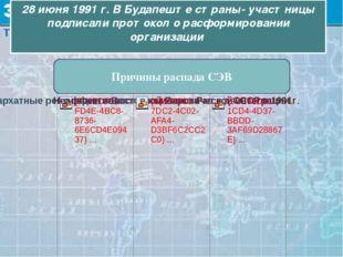 28 июня 1991 г. В Будапеште страны- участницы подписали протокол о расформиро