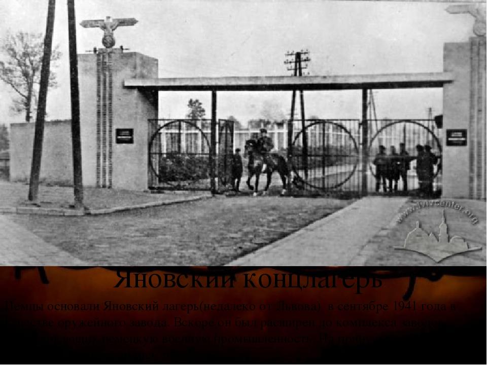 Яновский концлагерь Немцы основали Яновский лагерь(недалеко от Львова) в сент...