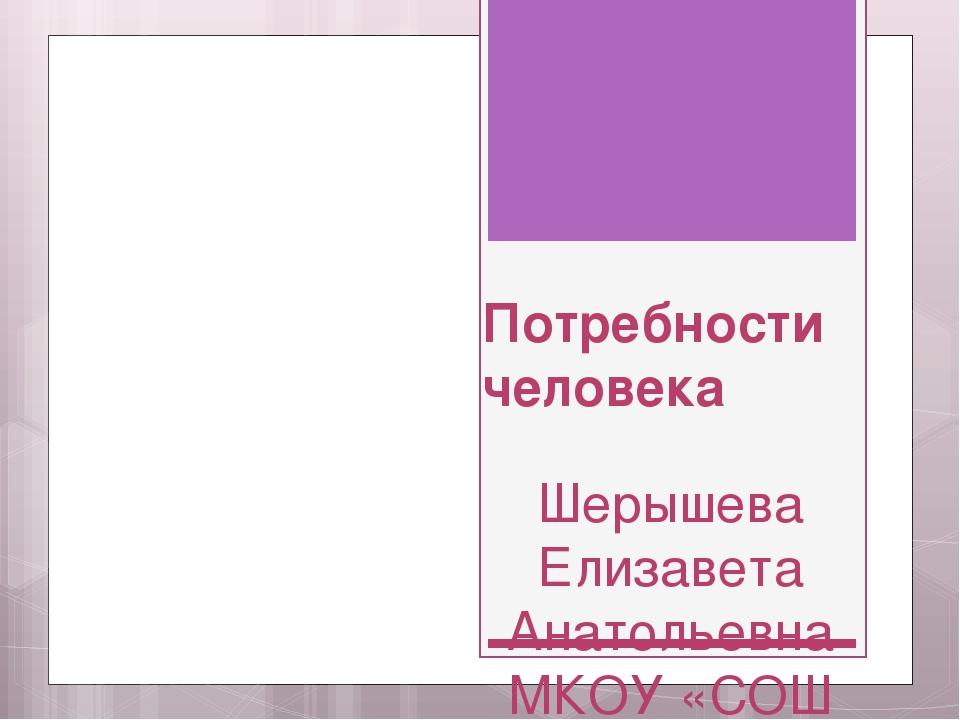 Потребности человека Шерышева Елизавета Анатольевна МКОУ «СОШ № 9 г. Аши (с п...