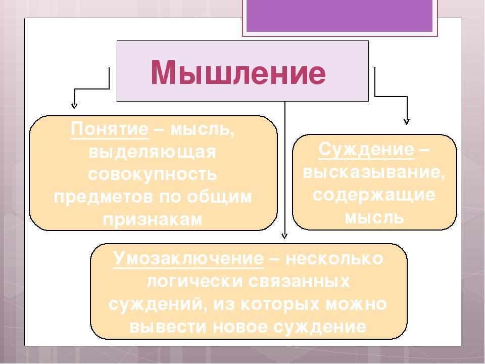 Мышление Понятие – мысль, выделяющая совокупность предметов по общим признака...