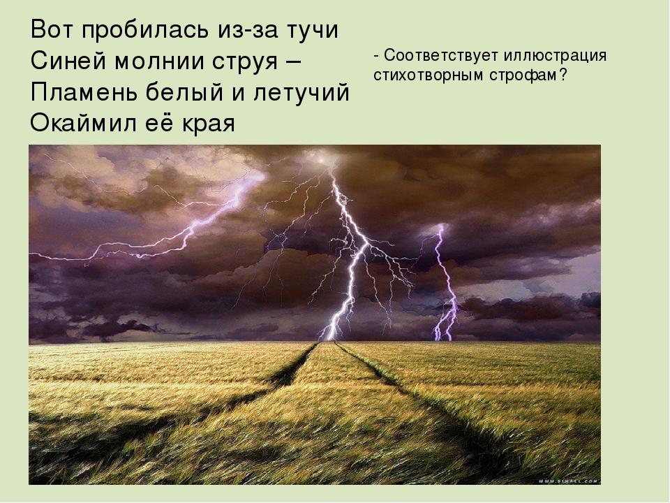 Вот пробилась из-за тучи Синей молнии струя – Пламень белый и летучий Окаймил...