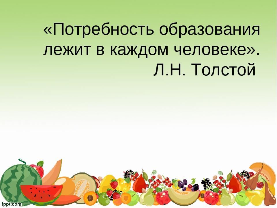 «Потребность образования лежит в каждом человеке». Л.Н. Толстой