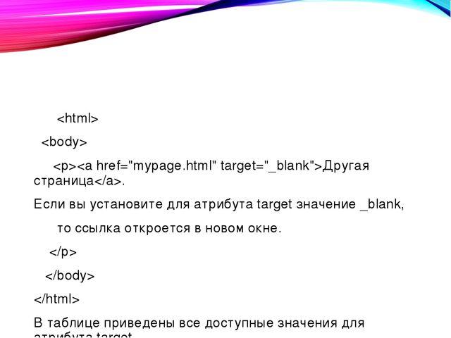 Другая страница. Если вы установите для атрибута target значение _blank, т...