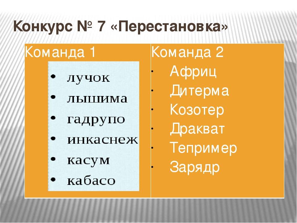 Конкурс № 7 «Перестановка» Команда 1 Команда2 Африц Дитерма Козотер Дракват Т...