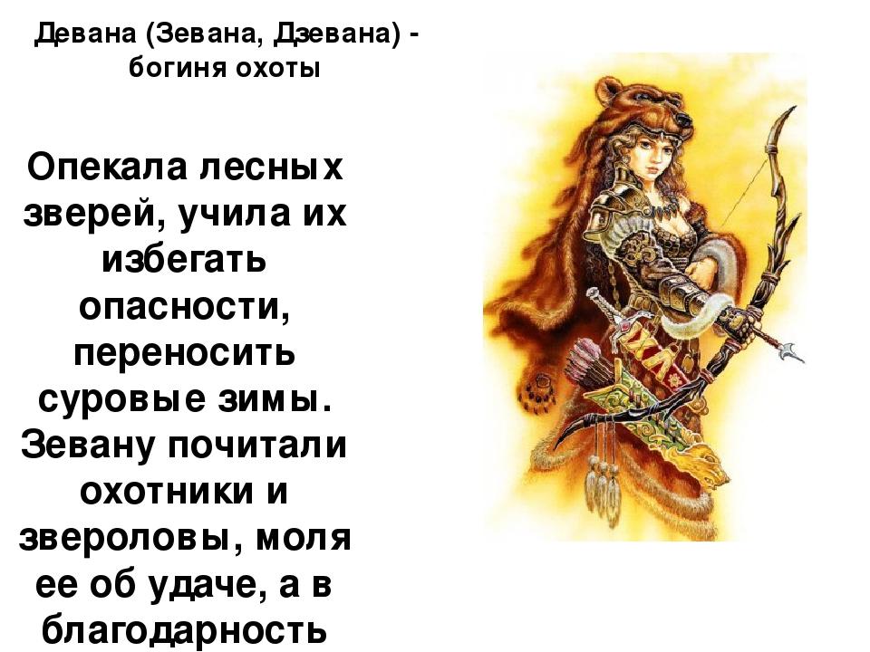 Девана (Зевана, Дзевана) - богиня охоты Опекала лесных зверей, учила их избе...