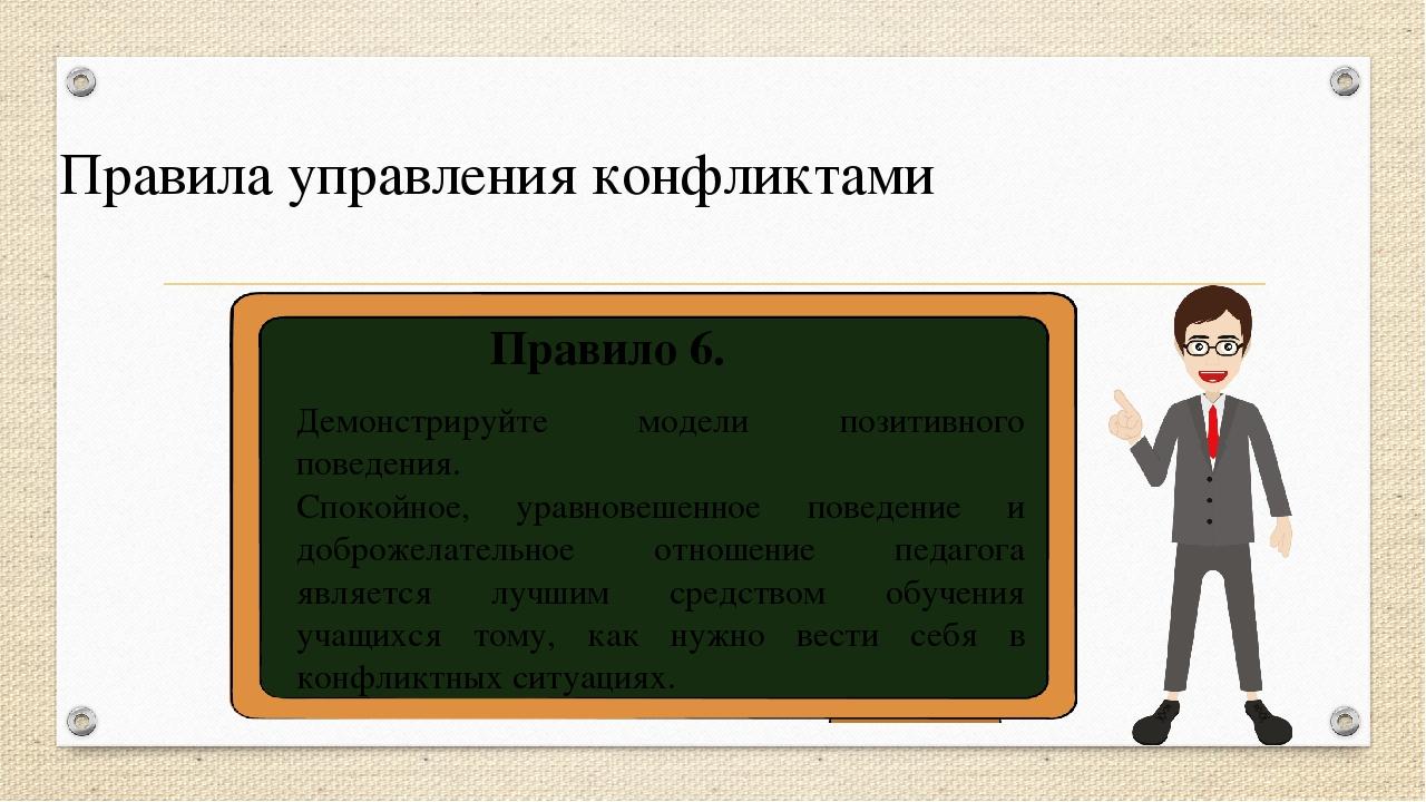Правила управления конфликтами Правило 6. Демонстрируйте модели позитивного п...