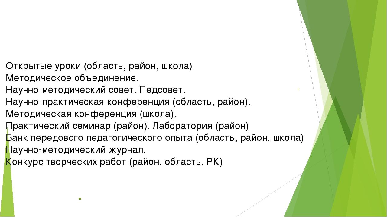 Местозащиты, предъявления Открытыеуроки (область,район,школа) Методическое...