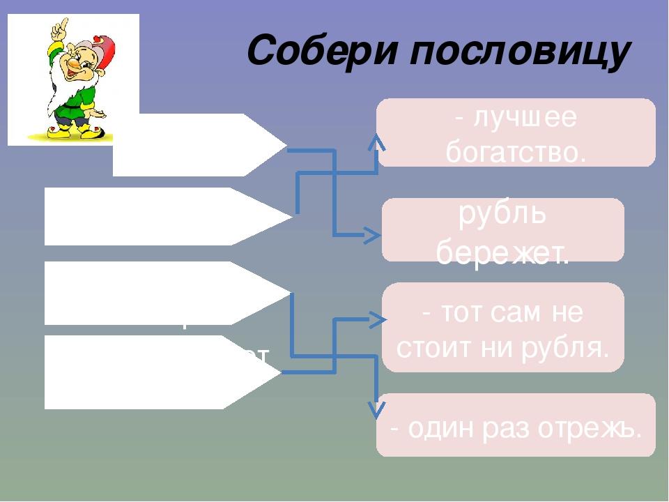 Собери пословицу Бережливость рубль бережет. - лучшее богатство. Семь раз отм...