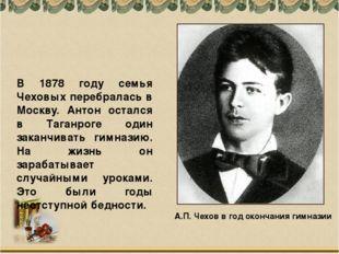 А.П. Чехов в год окончания гимназии В 1878 году семья Чеховых перебралась в М
