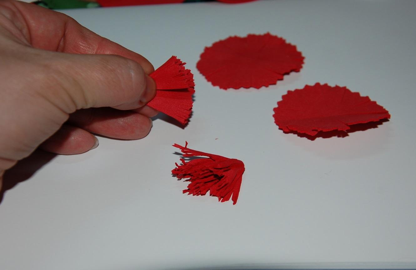 Гвоздики для открытки из гофрированной бумаги, добрым днем
