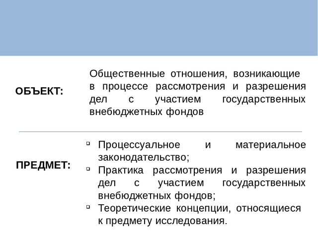 Презентация Анализ судебной практики при разрешении споров с  ОБЪЕКТ ПРЕДМЕТ Общественные отношения возникающие в процессе рассмотрения