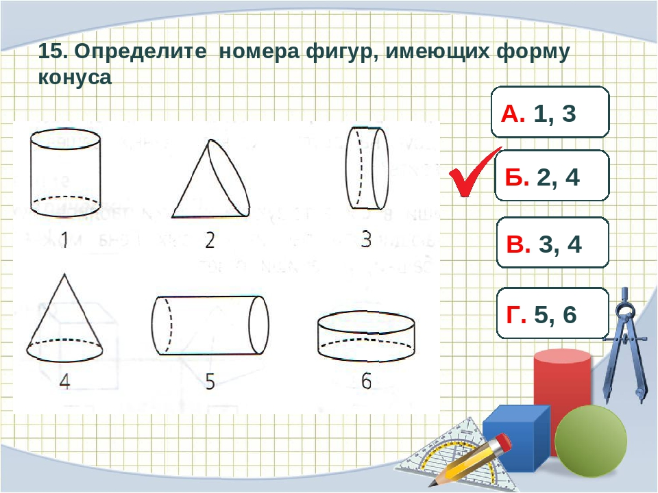 15. Определите номера фигур, имеющих форму конуса А. 1, 3 Б. 2, 4 В. 3, 4 Г....