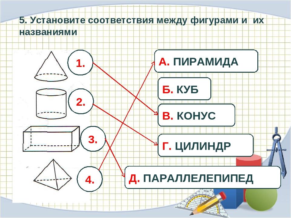 5. Установите соответствия между фигурами и их названиями 1. 2. 3. 4. А. ПИРА...