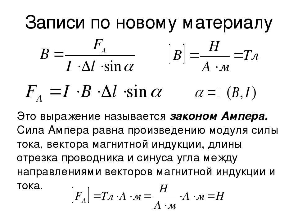 Записи по новому материалу Это выражение называется законом Ампера. Сила Ампе...
