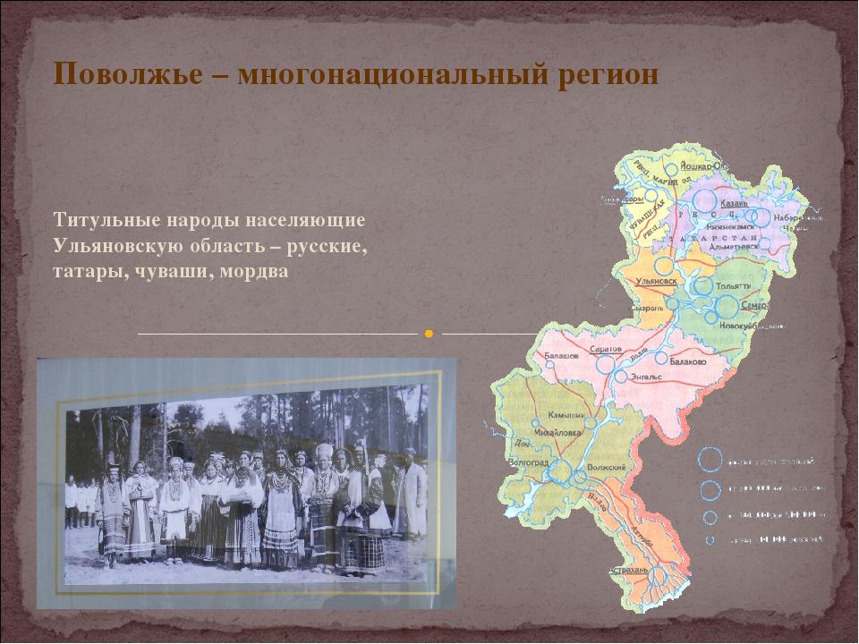 Поволжье – многонациональный регион Титульные народы населяющие Ульяновскую о...