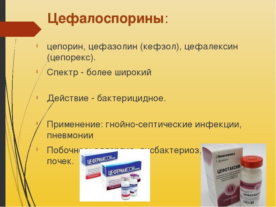 Цефалоспорины: цепорин, цефазолин (кефзол), цефалексин (цепорекс). Спектр - б...