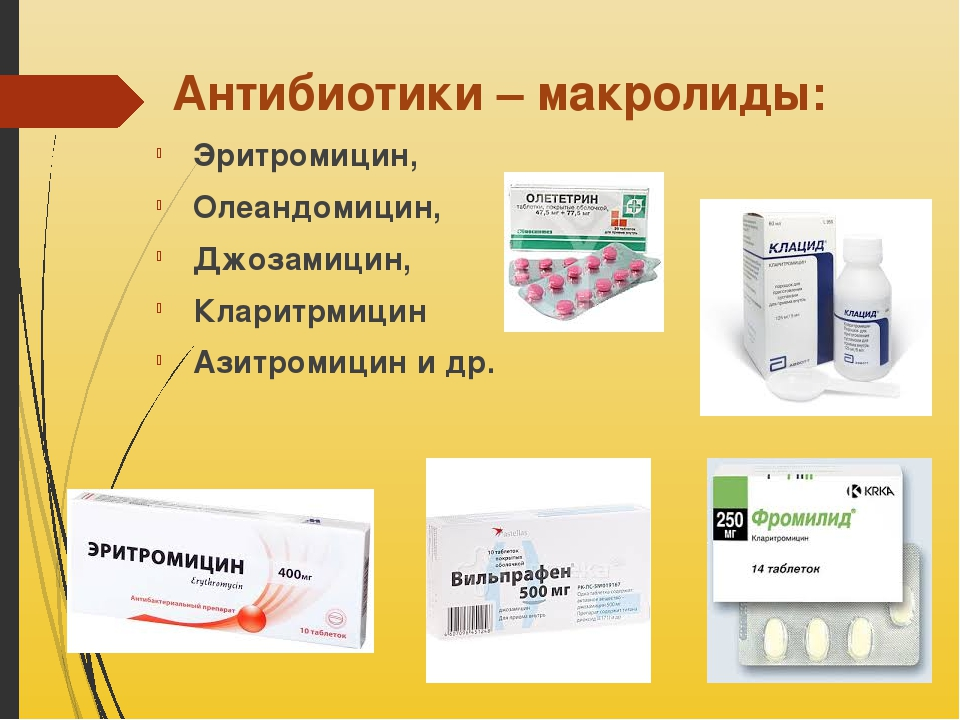 Антибиотики – макролиды: Эритромицин, Олеандомицин, Джозамицин, Кларитрмицин...
