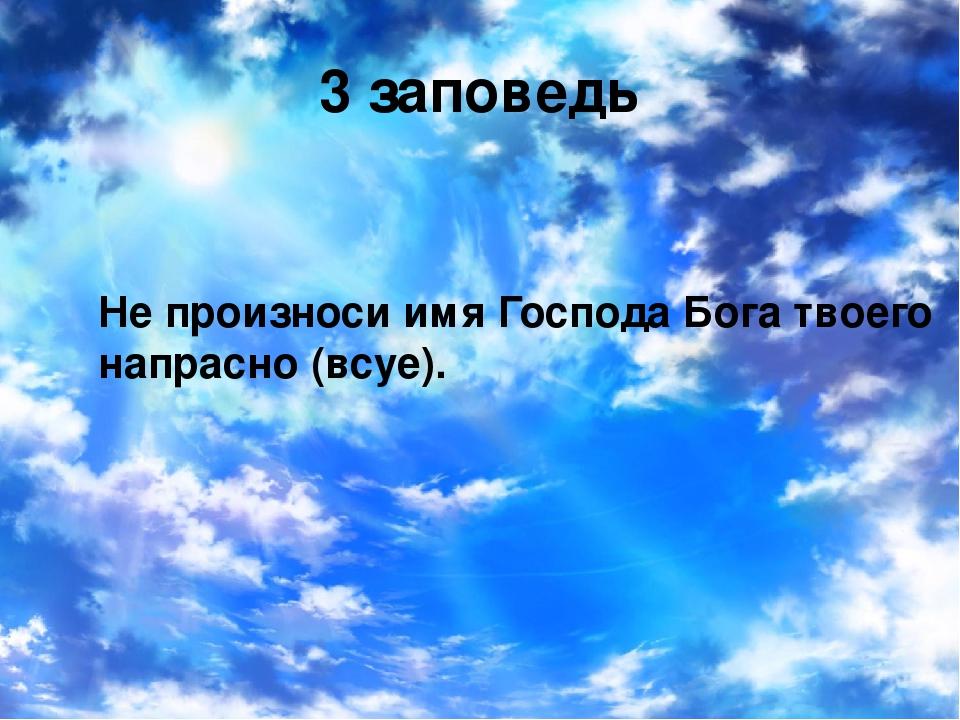 3 заповедь Не произноси имя Господа Бога твоего напрасно (всуе).