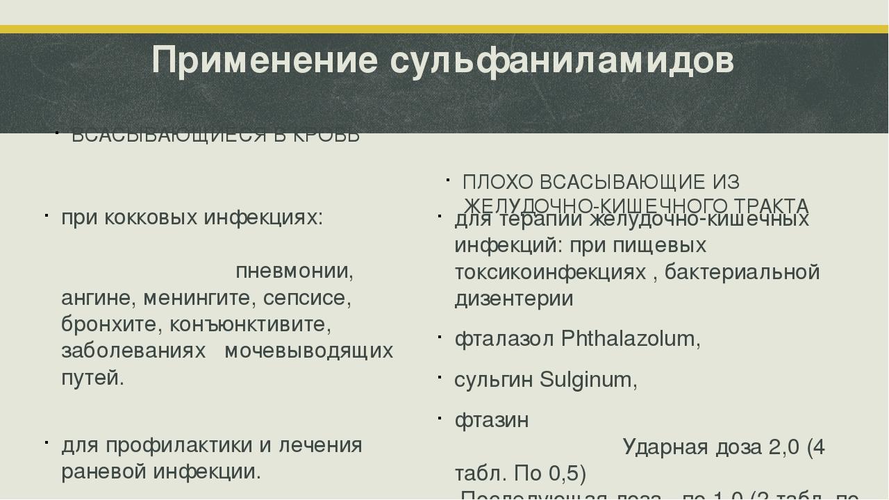Применение сульфаниламидов ВСАСЫВАЮЩИЕСЯ В КРОВЬ при кокковых инфекциях: пнев...