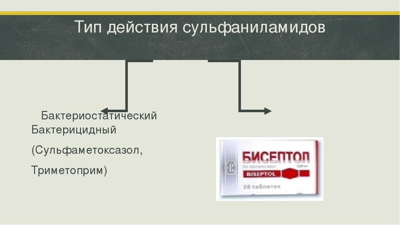 Тип действия сульфаниламидов Бактериостатический Бактерицидный (Сульфаметокса...